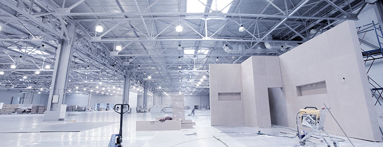 Large well-lit warehouse