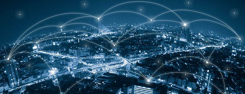 Connectivity images over city at night