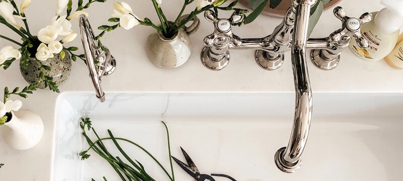 A Polished Nickel Faucet Adds a Timeless Finish to This Sink