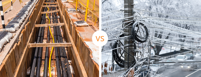 Underground Wires Versus Above-Ground Wires Covered in Ice