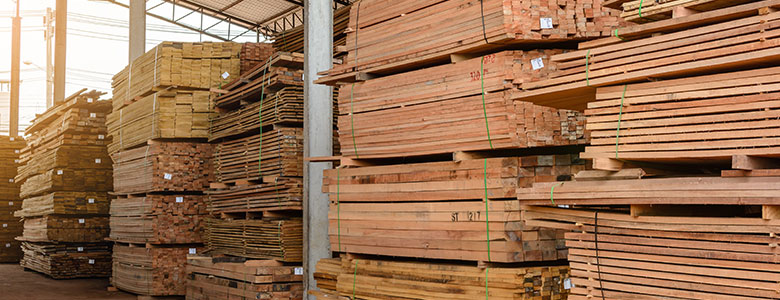 Lumber in a warehouse