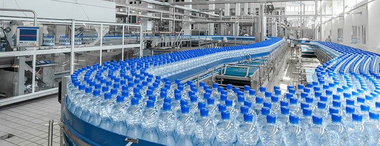 Plastic bottles in a factory