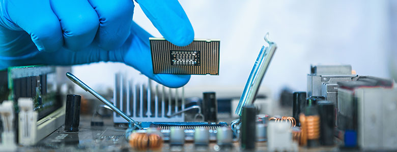 Semiconductor chip being manufactured
