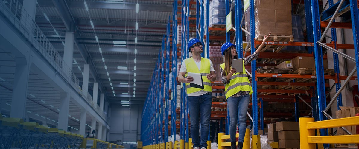 Workers in an inventory warehouse