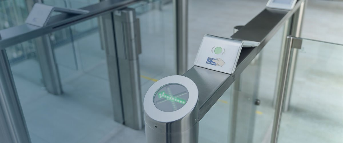 Keycard scan entry in office building